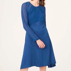 NWOT Club Monaco 100% Silk Bodice Blue Rokinsa Fit and Flare Dress Size 12.